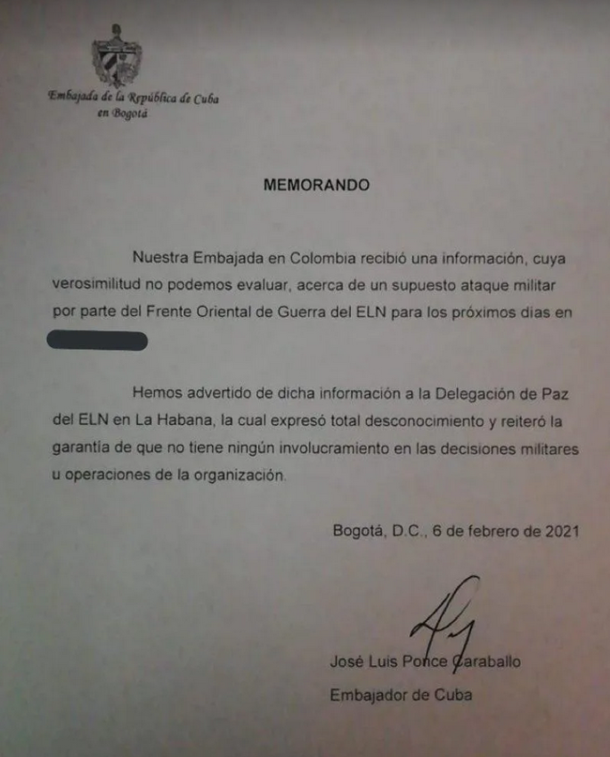 Cuba dévoile au gouvernement colombien un projet d'attaque de l'ELN
