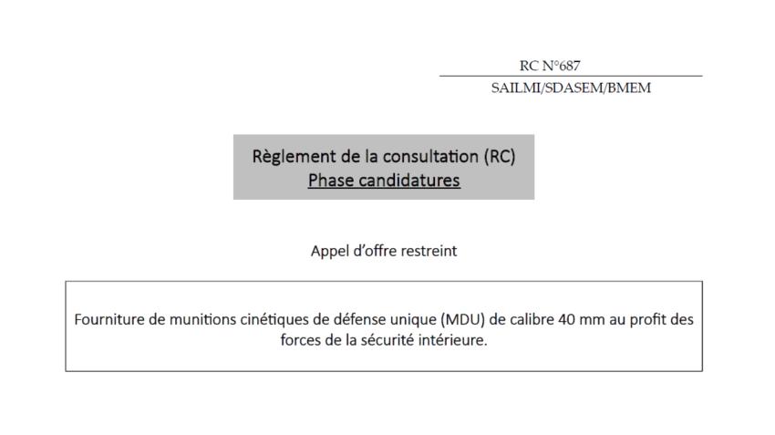 L'État français veut acheter 170.000 nouvelles munitions de LBD