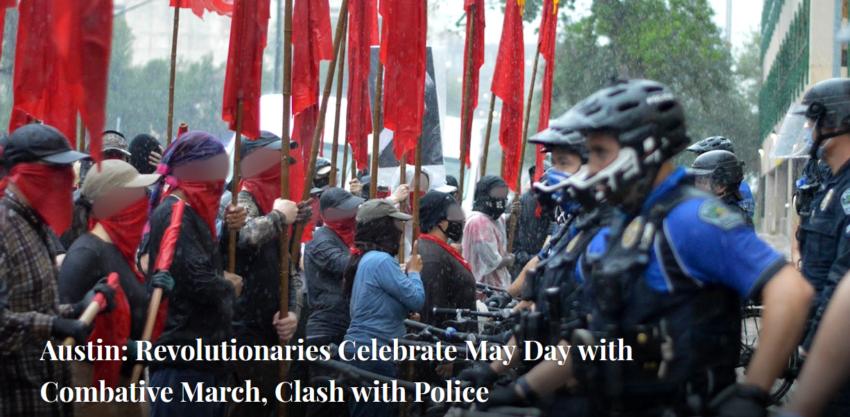 Affrontements avec la police lors d'une manifestation du 1er mai à Austin