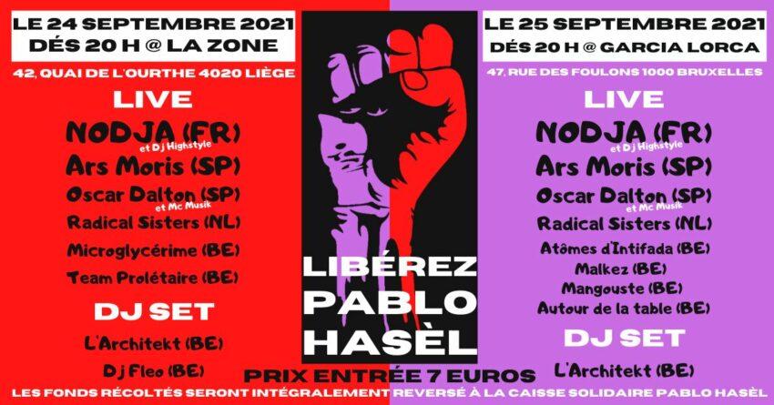 Concerts de soutien à Pablo Hasél à Liège et Bruxelles
